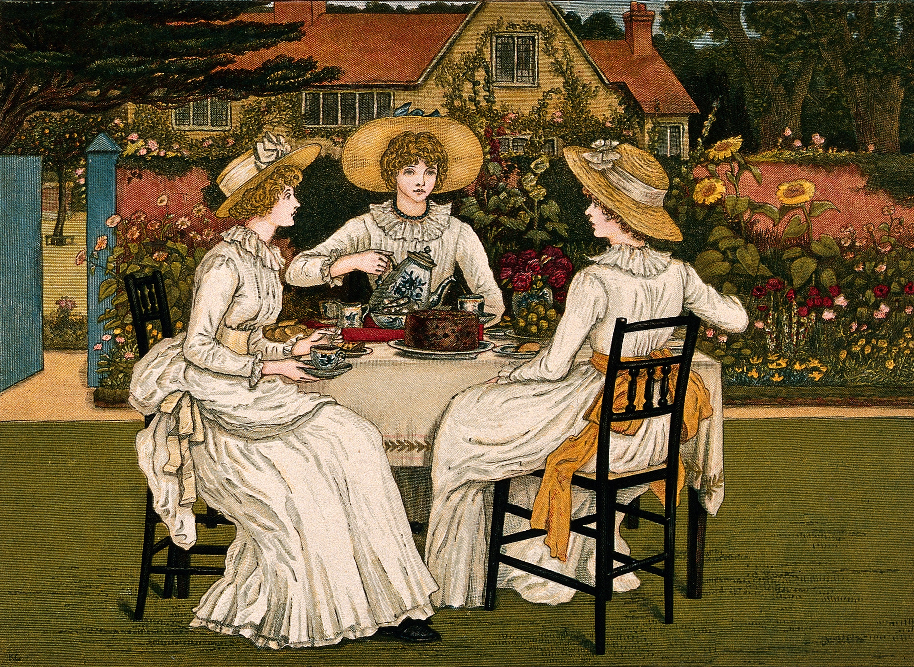 Dublin Shakespeare Society Three young woman are sitting at table in a garden having